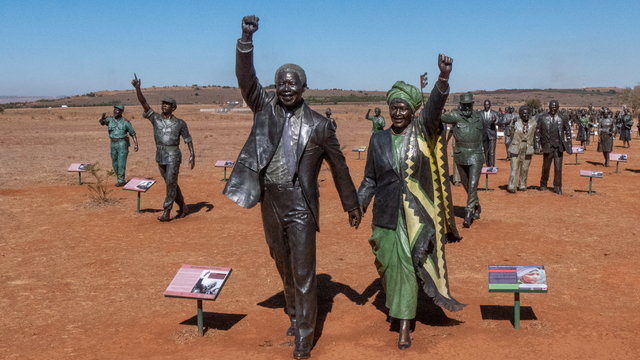 'Long March to Freedom' - Nelson and WInnie Mandela (1918 - 2013) Bronze Statues
